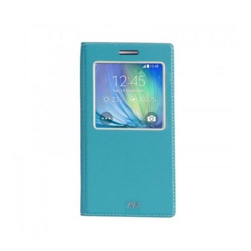 Lopard Samsung Galaxy A5 Pencereli Mavi Dolce Kapaklı Deri Akıllı Kılıf