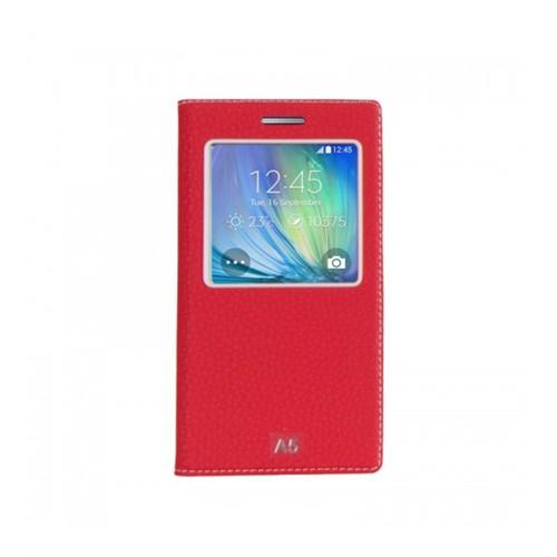 Lopard Samsung Galaxy A5 Pencereli Kırmızı Dolce Kapaklı Deri Akıllı Kılıf