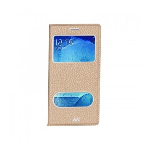 Lopard Samsung Galaxy A8 Pencereli Altın/Gold Dolce Kapaklı Deri Akıllı Kılıf