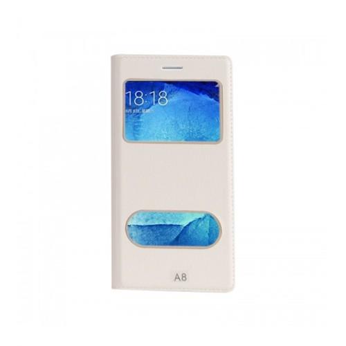 Lopard Samsung Galaxy A8 Pencereli Beyaz Dolce Kapaklı Deri Akıllı Kılıf