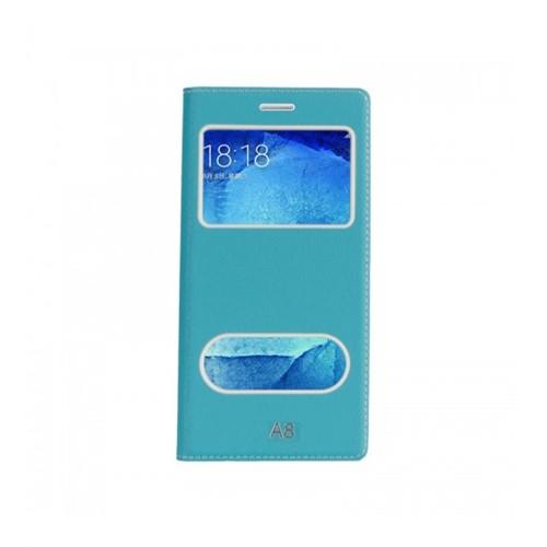 Lopard Samsung Galaxy A8 Pencereli Mavi Dolce Kapaklı Deri Akıllı Kılıf