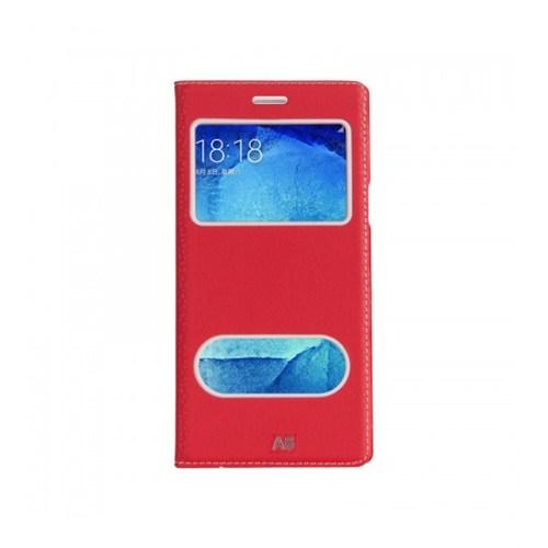 Lopard Samsung Galaxy A8 Pencereli Kırmızı Dolce Kapaklı Deri Akıllı Kılıf
