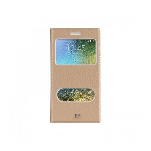 Lopard Samsung Galaxy E5 Pencereli Altın/Gold Dolce Kapaklı Deri Akıllı Kılıf