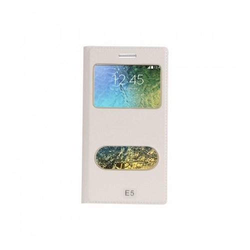 Lopard Samsung Galaxy E5 Pencereli Beyaz Dolce Kapaklı Deri Akıllı Kılıf