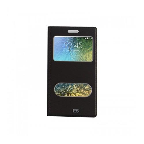 Lopard Samsung Galaxy E5 Pencereli Siyah Dolce Kapaklı Deri Akıllı Kılıf