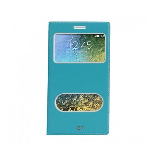 Lopard Samsung Galaxy E7 Pencereli Mavi Dolce Kapaklı Deri Akıllı Kılıf