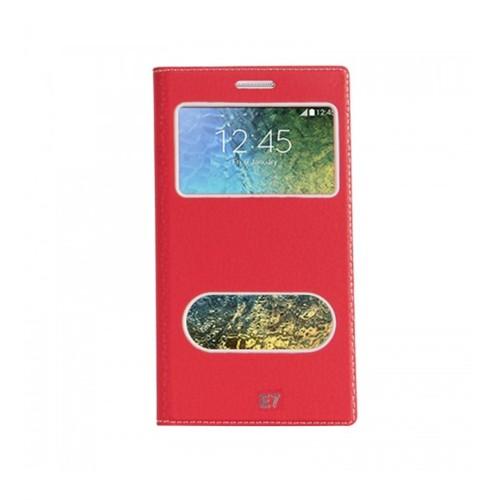 Lopard Samsung Galaxy E7 Pencereli Kırmızı Dolce Kapaklı Deri Akıllı Kılıf