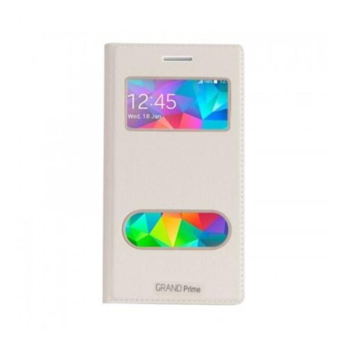 Lopard Samsung Galaxy Grand Prime Pencereli Beyaz Dolce Kapaklı Deri Akıllı Kılıf