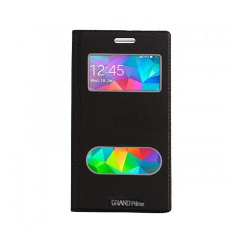 Lopard Samsung Galaxy Grand Prime Pencereli Siyah Dolce Kapaklı Deri Akıllı Kılıf