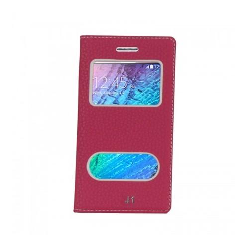 Lopard Samsung Galaxy J1 Pencereli Pembe Dolce Kapaklı Deri Akıllı Kılıf