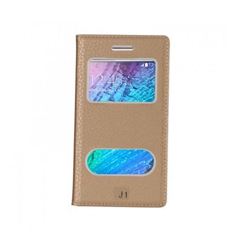Lopard Samsung Galaxy J1 Pencereli Dolce Kapaklı Deri Akıllı Gold Kılıf