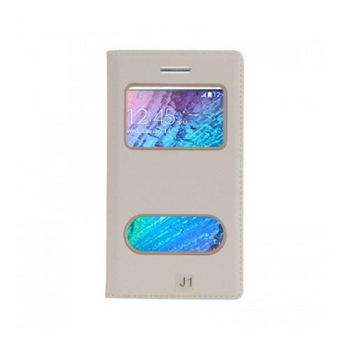 Lopard Samsung Galaxy J2 Pencereli Beyaz Dolce Kapaklı Deri Akıllı Kılıf