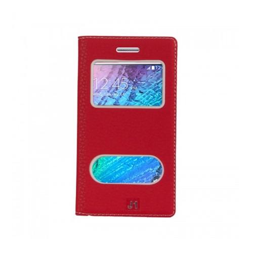 Lopard Samsung Galaxy J2 Pencereli Kırmızı Dolce Kapaklı Deri Akıllı Kılıf