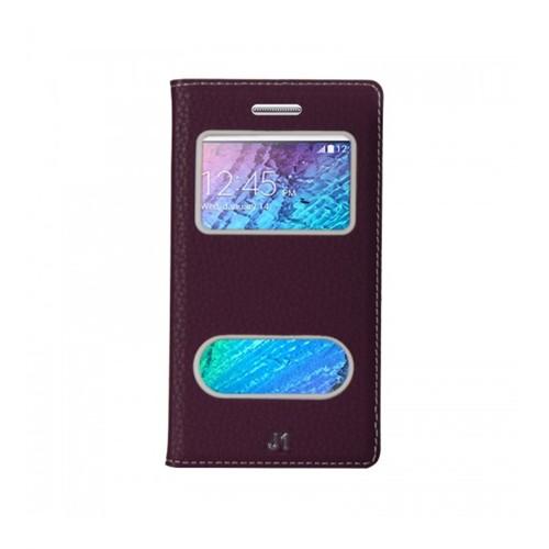 Lopard Samsung Galaxy J2 Pencereli Mor Dolce Kapaklı Deri Akıllı Kılıf