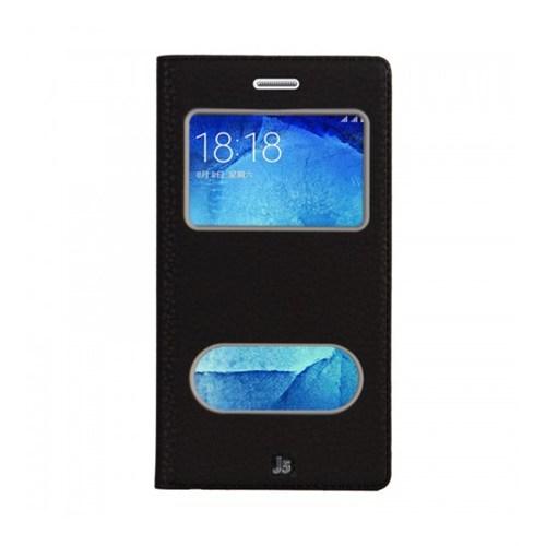 Lopard Samsung Galaxy J5 Pencereli Siyah Dolce Kapaklı Deri Akıllı Kılıf