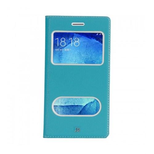 Lopard Samsung Galaxy J5 Pencereli Mavi Dolce Kapaklı Deri Akıllı Kılıf