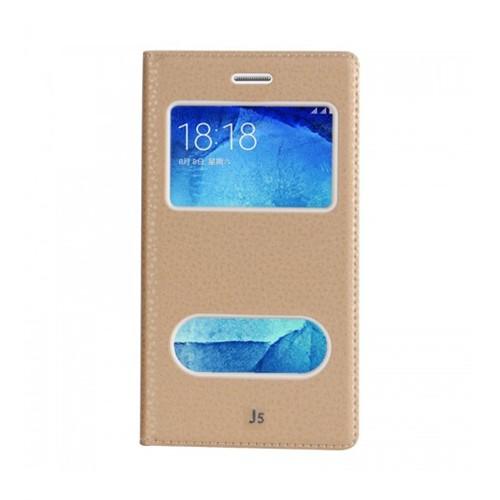 Lopard Samsung Galaxy J5 Pencereli Dolce Kapaklı Deri Akıllı Gold Kılıf