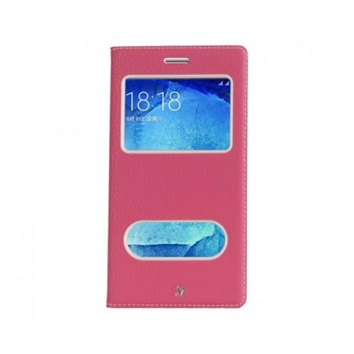 Lopard Samsung Galaxy J7 Pencereli Pembe Dolce Kapaklı Deri Akıllı Kılıf