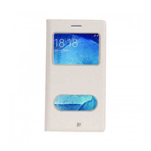 Lopard Samsung Galaxy J7 Pencereli Beyaz Dolce Kapaklı Deri Akıllı Kılıf