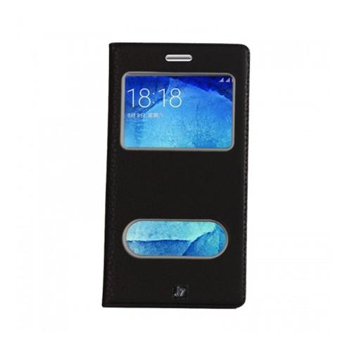 Lopard Samsung Galaxy J7 Pencereli Siyah Dolce Kapaklı Deri Akıllı Kılıf