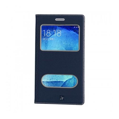 Lopard Samsung Galaxy J7 Pencereli Dolce Kapaklı Deri Akıllı Lacivert Kılıf