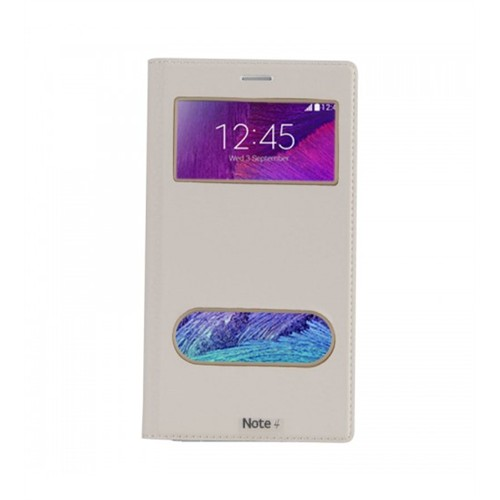 Lopard Samsung Galaxy Note 4 Pencereli Beyaz Dolce Kapaklı Deri Akıllı Kılıf