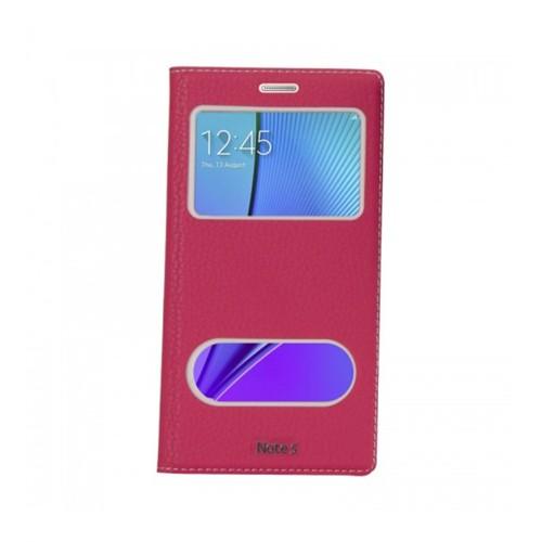 Lopard Samsung Galaxy Note 5 Pencereli Pembe Dolce Kapaklı Deri Akıllı Kılıf