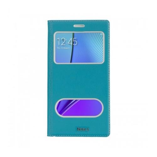 Lopard Samsung Galaxy Note 5 Pencereli Mavi Dolce Kapaklı Deri Akıllı Kılıf