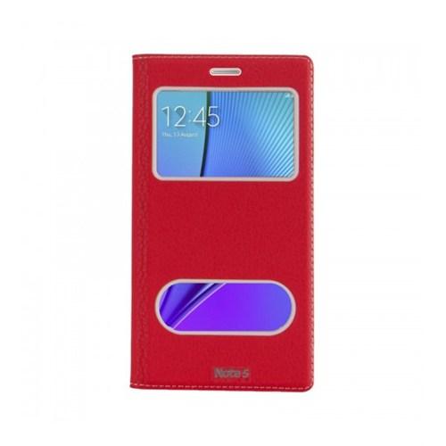 Lopard Samsung Galaxy Note 5 Pencereli Kırmızı Dolce Kapaklı Deri Akıllı Kılıf