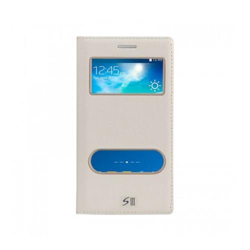 Lopard Samsung Galaxy S3 Pencereli Beyaz Dolce Kapaklı Deri Akıllı Kılıf
