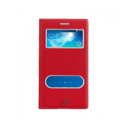 Lopard Samsung Galaxy S3 Pencereli Kırmızı Dolce Kapaklı Deri Akıllı Kılıf
