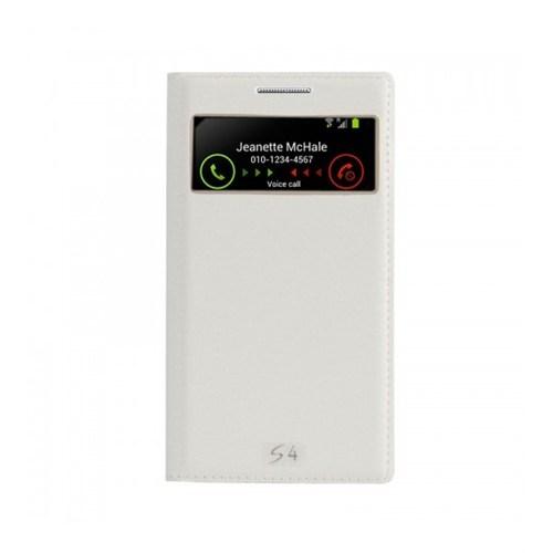 Lopard Samsung Galaxy S4 Pencereli Beyaz Dolce Kapaklı Deri Akıllı Kılıf