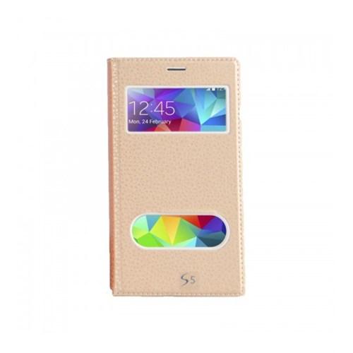 Lopard Samsung Galaxy S5 Pencereli Dolce Kapaklı Deri Akıllı Gold Kılıf
