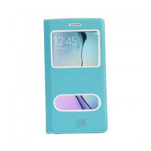 Lopard Samsung Galaxy S6 Pencereli Mavi Dolce Kapaklı Deri Akıllı Kılıf