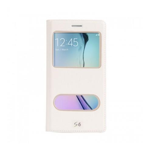 Lopard Samsung Galaxy S6 Pencereli Beyaz Dolce Kapaklı Deri Akıllı Kılıf