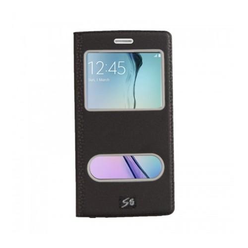 Lopard Samsung Galaxy S6 Pencereli Siyah Dolce Kapaklı Deri Akıllı Kılıf