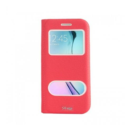 Lopard Samsung Galaxy S6 Edge Pencereli Kırmızı Dolce Kapaklı Deri Akıllı Kılıf