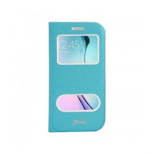 Lopard Samsung Galaxy S6 Edge Pencereli Mavi Dolce Kapaklı Deri Akıllı Kılıf