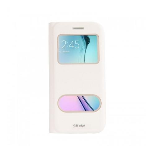 Lopard Samsung Galaxy S6 Edge Pencereli Beyaz Dolce Kapaklı Deri Akıllı Kılıf