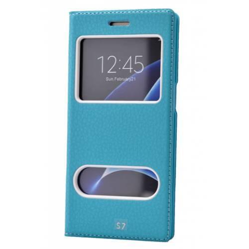 Lopard Samsung Galaxy S7 Edge Pencereli Mavi Dolce Kapaklı Deri Akıllı Kılıf