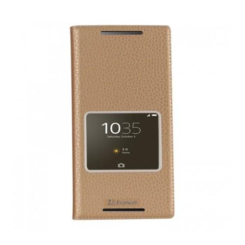Lopard Sony Xperia Z5 Premium Pencereli Dolce Kapaklı Deri Akıllı Gold Kılıf