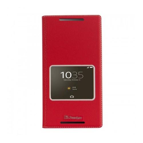 Lopard Sony Xperia M5 Pencereli Kırmızı Dolce Kapaklı Deri Akıllı Kılıf