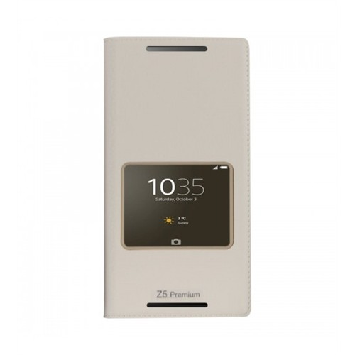 Lopard Sony Xperia M5 Pencereli Beyaz Dolce Kapaklı Deri Akıllı Kılıf