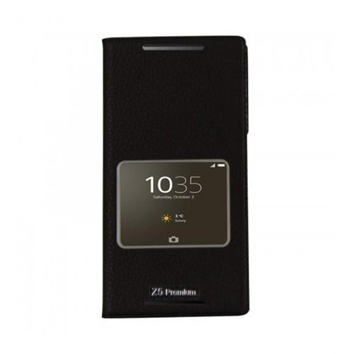 Lopard Sony Xperia M5 Pencereli Siyah Dolce Kapaklı Deri Akıllı Kılıf