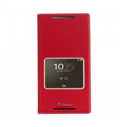 Lopard Sony Xperia Z5 Compact Pencereli Kırmızı Dolce Kapaklı Deri Akıllı Kılıf