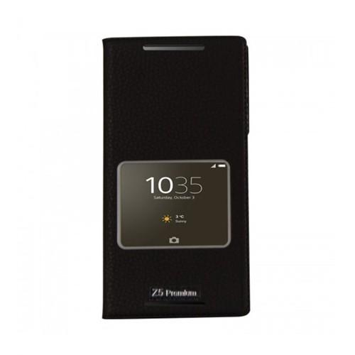 Lopard Sony Xperia Z5 Compact Pencereli Siyah Dolce Kapaklı Deri Akıllı Kılıf
