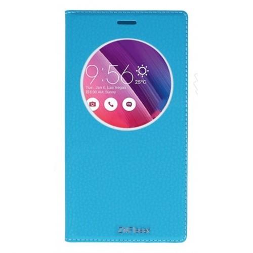 Lopard Asus Zenfone Go Zc500tg Pencereli Mavi Dolce Kapaklı Deri Akıllı Kılıf