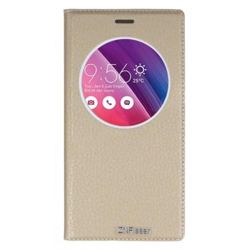 Lopard Asus Zenfone 2 Pencereli Altın/Gold Dolce Kapaklı Deri Akıllı Kılıf