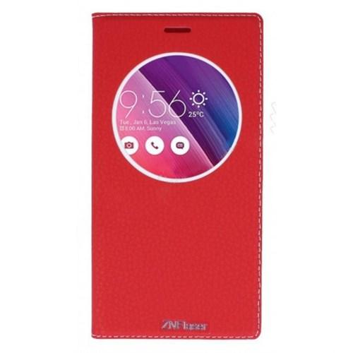 Lopard Asus Zenfone 2 Pencereli Kırmızı Dolce Kapaklı Deri Akıllı Kılıf
