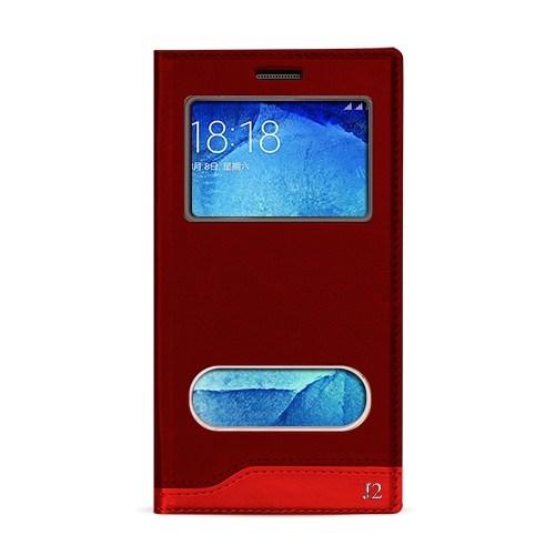Volpawer Samsung Galaxy J2 Gizli Mıknatıslı Pencereli Kılıf Kırmızı